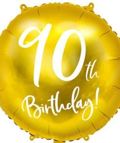 90th Birthday, Folienballon, gold mit weißer Schrift, 45cm