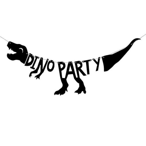 "Girlande ""DINO PARTY"", Dino / T-Rex, Pappe schwarz, 20 x 90 cm"
