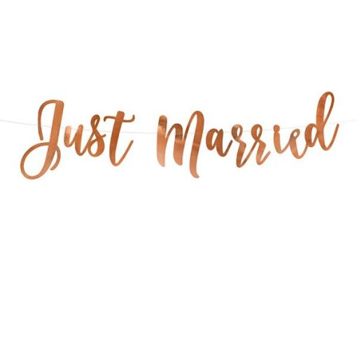 Banner Just Married, rose gold, 20x77cm_01