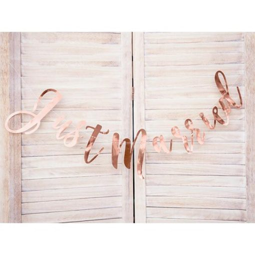 Banner Just Married, rose gold, 20x77cm_03