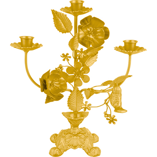 Candle holder Flowers iron matt ochre yellow For 3 candles, H. 30cm, W. 26cm
