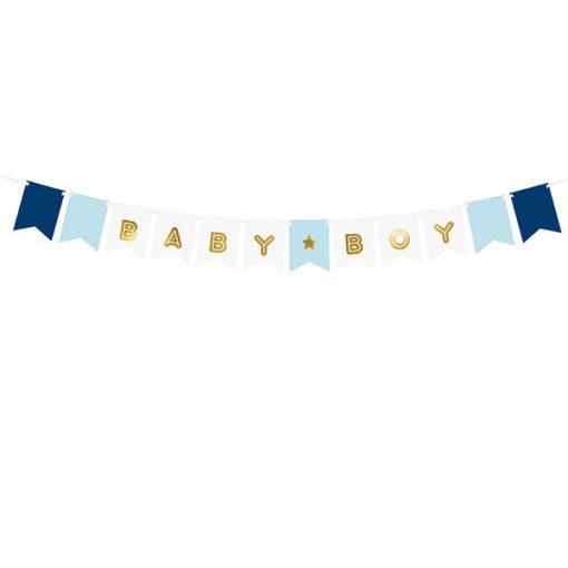 Fahnenkette BABY BOY, Pappe blau-weiß, Golddruck, Kordel weiß 15 x 160cm