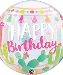 Happy Birthday, Cactus, Bubble, 56cm Vorderseite