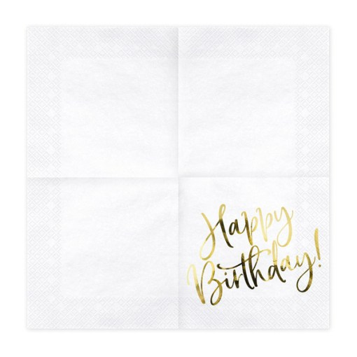 Happy Birthday, Servietten, weiß mit goldenem Schriftzug, dreilagig, 20 Stk., 33 x 33 cm, entfaltet