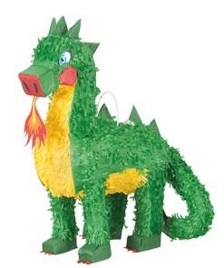 Pinata Feuer-Drache, Pappmasché grün 40 x 14 x 48 cm