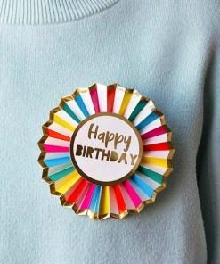 """Ansteck-Rosette """"Happy BIRTHDAY"""", weiß/bunt/gold, D 12 cm, Beispielbild"""