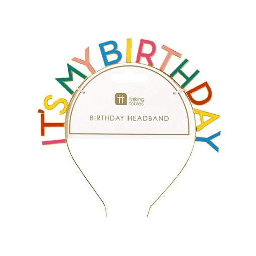 Buchstaben-Haarreif IT'S MY BIRTHDAY, Metall/Papier, bunt/gold