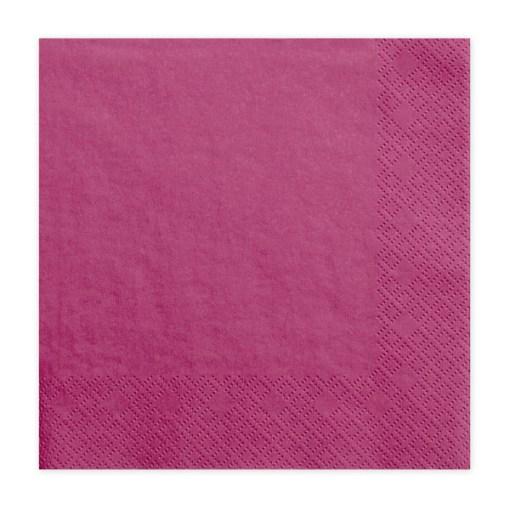 Servietten, dark pink - fuchsia, dreilagig, 20 Stk., 33 x 33 cm