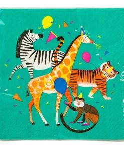 Servietten, petrol Zebra/Affe/Tiger/Giraffe, 33 x 33 xm, 20er Pack, Verpackung