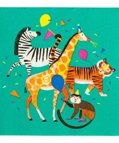 Servietten, petrol Zebra/Affe/Tiger/Giraffe, 33 x 33 xm, 20er Pack