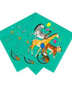 Servietten, petrol Zebra/Affe/Tiger/Giraffe, 33 x 33 xm, 20er Pack, aufgefächert