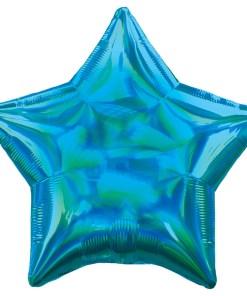 Stern, holografisch-blau, Folienballon, 45cm