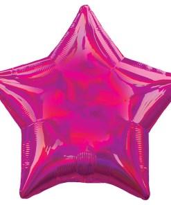 Stern, holografisch-pink, Folienballon, 45cm