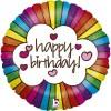 Happy Birthday, Retro Regenbogen, Glitzernd, Folienballon, rund, 45cm