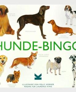 Hunde-Bingo, Box, 64 Spielsteine, 12 Bingokarten, Leinensaeckchen und Spielsack, 262x236mm
