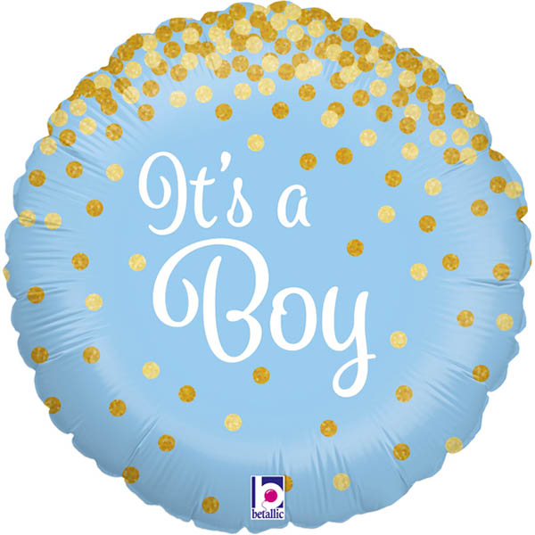 Its a Boy, Glitzernd, Folienballon, Rund, 45cm