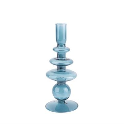 Kerzenständer groß, Glas, ringförmig, dunkelblau, H 22,5 cm, D 8,5 cm