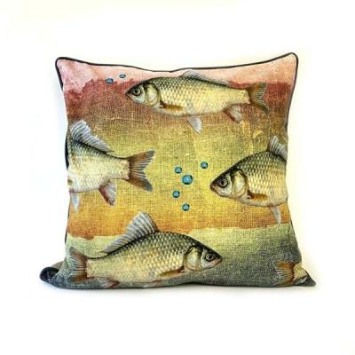 Kissen Atlantic, inkl. Füllung, gelb-rost-graue Fische, Keder anthrazit, 100Proz Baumwolle, 60 x 60 cm