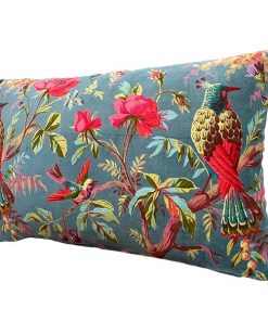 Kissen, inkl. Fuellung, petrol, Paradisgarten Pfauen und Blumen, Samt, 100Proz Baumwolle, 40 x 60 cm, Seite