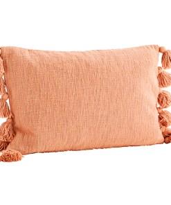Kissenhülle grob gewebt, uni lachsfarben,12 dicke Troddeln, Baumwollmischung inkl. Daunen-Kissenfüllung, 40x60cm