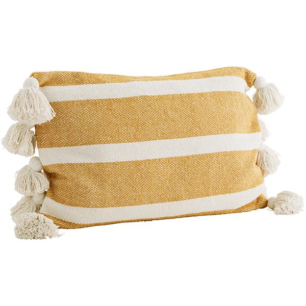 Kissenhülle grob gewebtBlockstreifen gebr.weißsenfgelb,10 dicke Troddeln, Baumwollmischung inkl. Daunen-Kissenfüllung, 40x60cm