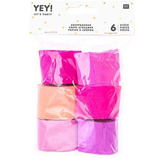 Kreppbaender Packung pink Mix, 3,5 CM X 10 M, 6 STK, verpackt
