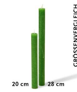 Stabkerzen im Groessenvergleich 20cm und 28cm