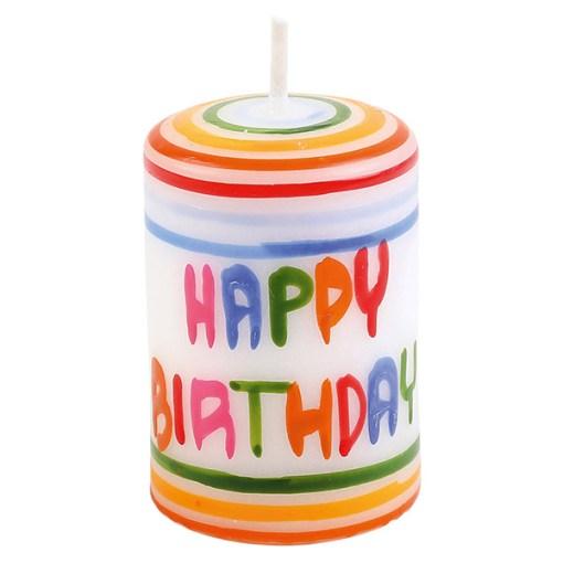 Stumpenkerze-Lebenslicht HAPPY BIRTHDAY, Querstreifen bunt, D 3,5 H 5,5 cm