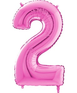Zahl 2 Pink Folienballon H102cm
