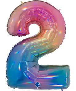 Zahl 2 Regenbogenfarben Folienballon H102cm