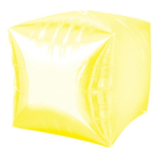 Würfel Folienballon, transparent gelb