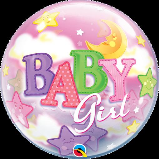 Baby Girl, Bubble mit Sternen, Folienballon, rund, 56cm