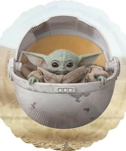Baby Yoda-Grogu in Wiege, Folienballon, rund, 43cm