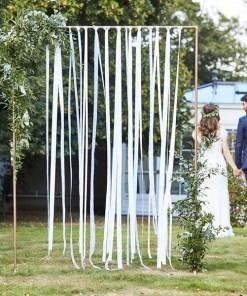 Bänder-Vorhang Botanical Wedding, Backdrop aus weißen Bändern, 80m