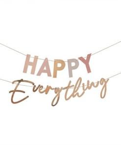 Buchstaben-Girlande ''HAPPY Everything'', pastell-gold, Goldkordel, 2x 1,5 m