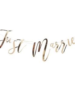 Buchstaben-Girlande, Just Married, Pappe roségold foliert, Faden weiß, H 25 x L 150 cm