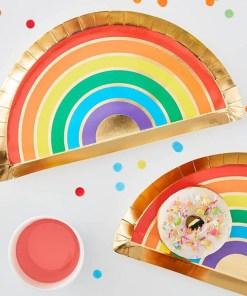 Form-Pappteller Over the Rainbow, Regenbogen Golddruck, 8er Pack, 28 x 15,5 cm, Dekobeispiel