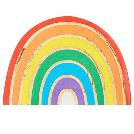 Form-Servietten Over the Rainbow, Regenbogen Golddruck, 16er Pack, 16,5 x 11 cm