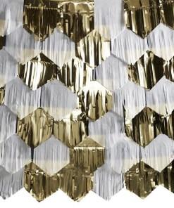 Fransenvorhang Dachziegel-Anordung, Seidenpapier weiß Folien gold, 42 Stück + 7x Kordel, 7 x 2 m