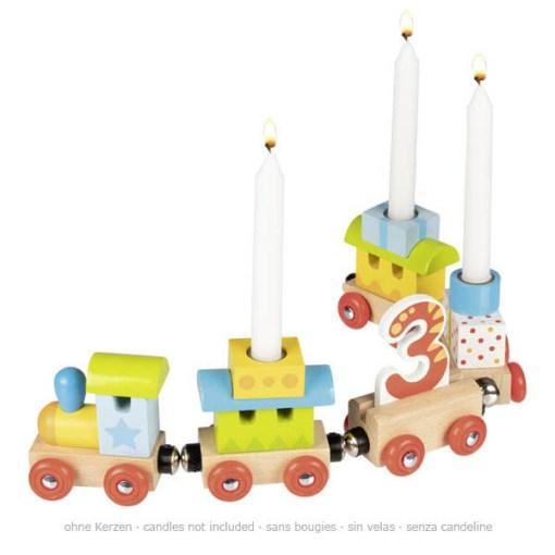 Geburtstags-Zug mit 4 Anhaengern, HolzMagnetverbindungen, austauschbare Zahlen 1 - 6, L 35 cm, seitlich