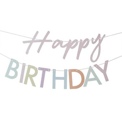 Girlande ''Happy BIRTHDAY'', Pappe pastell-bunt, rosa Kordel, 2x 1,5 m