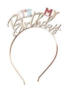 Haarreif ''IT'S MY Birthday'', Metall gold-Pastelltoene, 14.8cm x 18cm