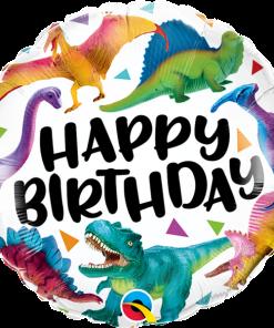 Happy Birthday, Dinosaurier, Folienballon, rund, 45cm