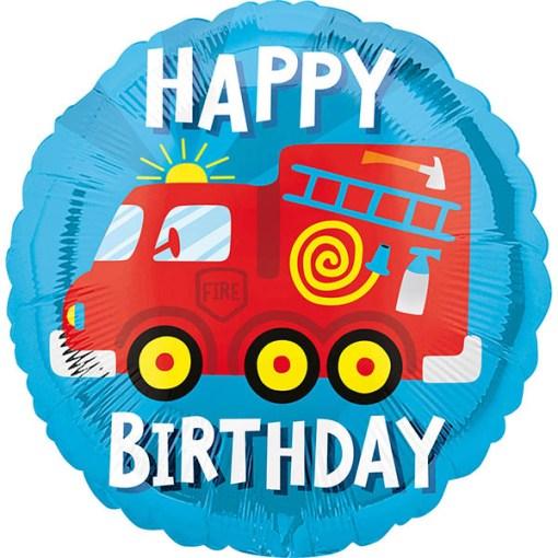 Happy Birthday, Feuerwehr, Folienballon, rund, 43cm