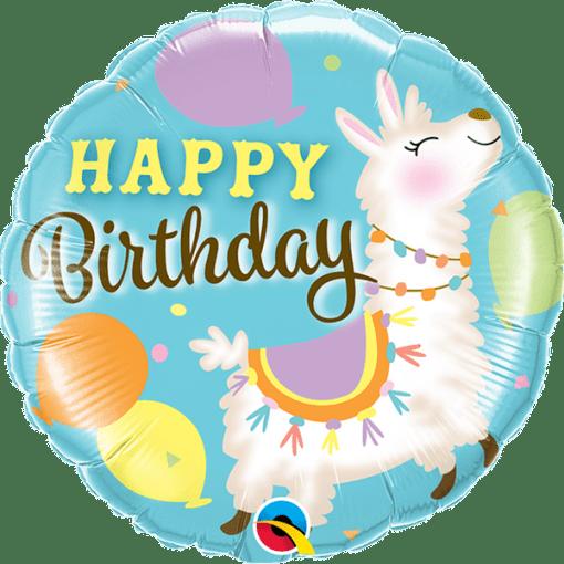 Happy Birthday, Lama, Folienballon, rund, 45cm