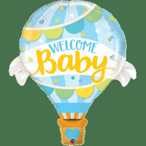 Heissluftballon Blau, Welcome Baby, Folienballon, H107cm