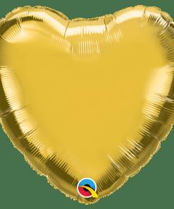Herz, metallic Gold, Folienballon, 45 cm