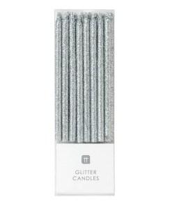 Kerzen, glitter-silber, 16er Box, Verpackung H16cm