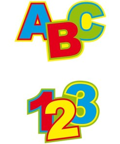 Konfetti XL Schulanfang, 24 Cutouts ABC und 123, Pappe bunt, 11 x 8 und 9 x 8 cm