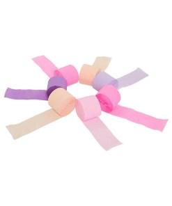 Kreppbaender 'Party Streamers', 7 Rollen a 10 m, rosa-pink-flieder-lila-apricot sort, Baender